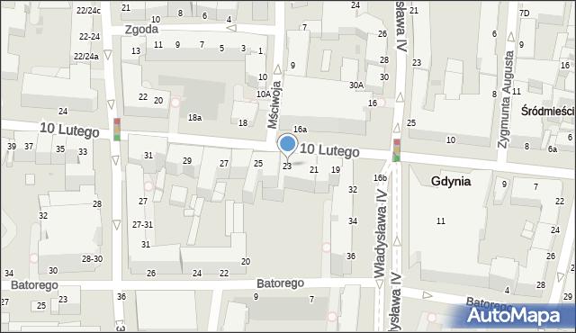 Gdynia, 10 Lutego, 23, mapa Gdyni