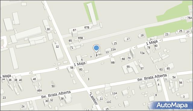 Będzin, 1 Maja, 9, mapa Będzin