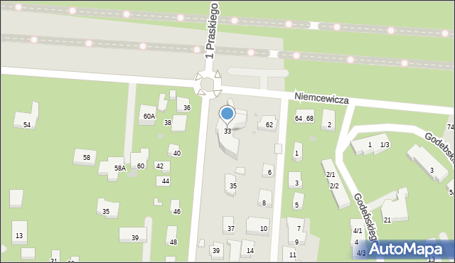 Warszawa, 1 Praskiego Pułku, 33, mapa Warszawy