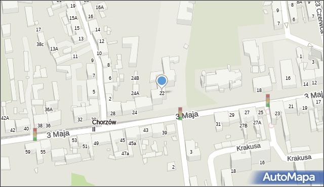 Chorzów, 3 Maja, 22, mapa Chorzów