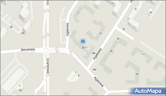 Lublin, Agatowa, 16, mapa Lublina