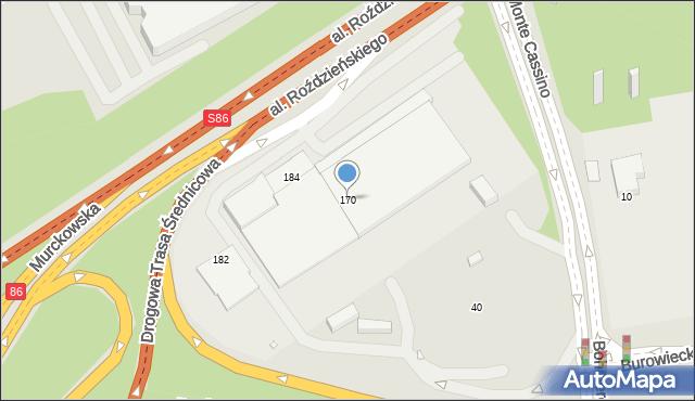 Katowice, Aleja Roździeńskiego Walentego, 170, mapa Katowic