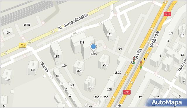 Warszawa, Aleje Jerozolimskie, 133A, mapa Warszawy