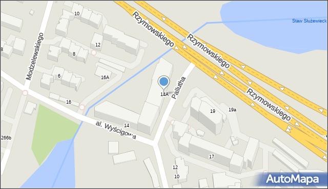 Warszawa, Aleja Wyścigowa, 14A, mapa Warszawy
