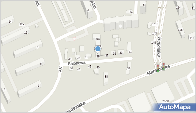 Łódź, Balonowa, 39, mapa Łodzi