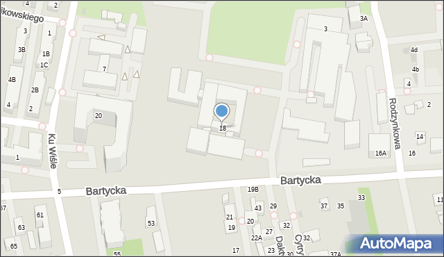 Warszawa, Bartycka, 18, mapa Warszawy