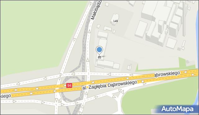 Sosnowiec, Będzińska, 65, mapa Sosnowca