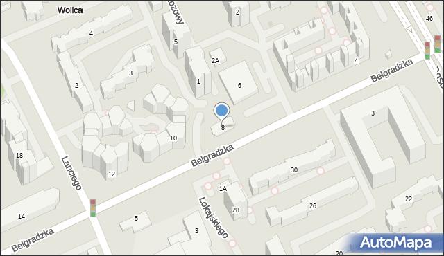 Warszawa, Belgradzka, 8, mapa Warszawy
