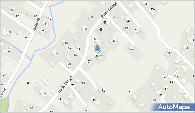 Chocznia, Biała Droga, 65, mapa Chocznia
