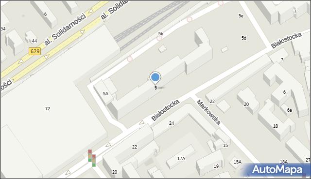 Warszawa, Białostocka, 5, mapa Warszawy