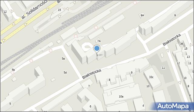 Warszawa, Białostocka, 7, mapa Warszawy