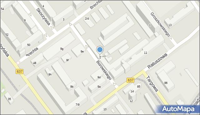 Warszawa, Borowskiego Tadeusza, 2, mapa Warszawy