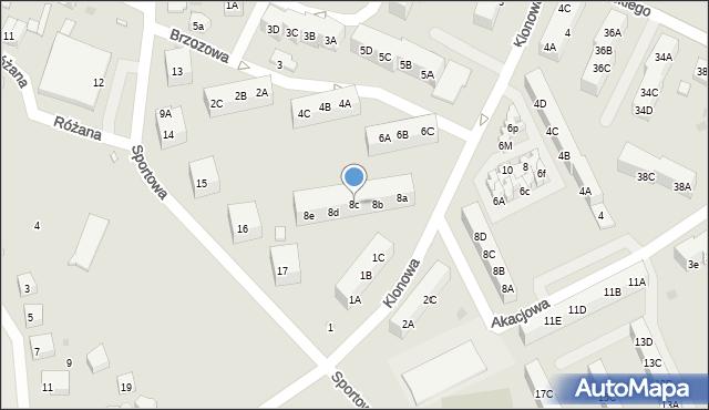 Gryfice, Brzozowa, 8c, mapa Gryfice