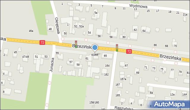 Łódź, Brzezińska, 63-65, mapa Łodzi
