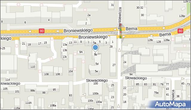 Toruń, Broniewskiego Władysława, 5b, mapa Torunia