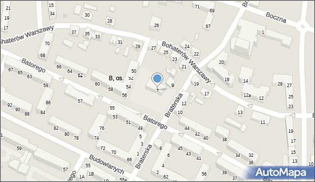 Tychy, Braterska, 7, mapa Tychów