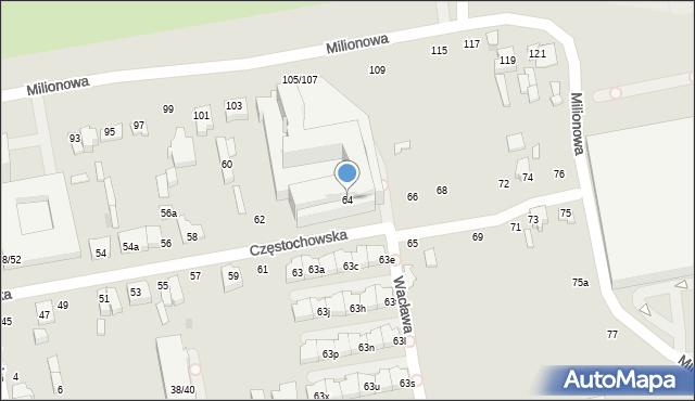 Łódź, Częstochowska, 64, mapa Łodzi