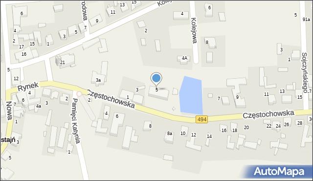 Przystajń, Częstochowska, 5, mapa Przystajń