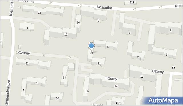 Warszawa, Czumy Waleriana, gen., 13, mapa Warszawy