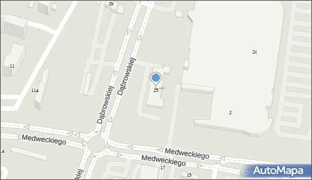 Kraków, Dąbrowskiej Marii, 25, mapa Krakowa