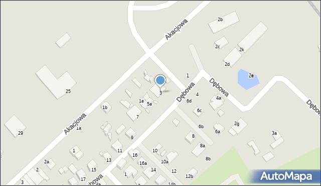 Elbląg, Dębowa, 3, mapa Elbląga
