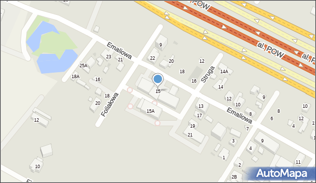 Warszawa, Emaliowa, 15, mapa Warszawy