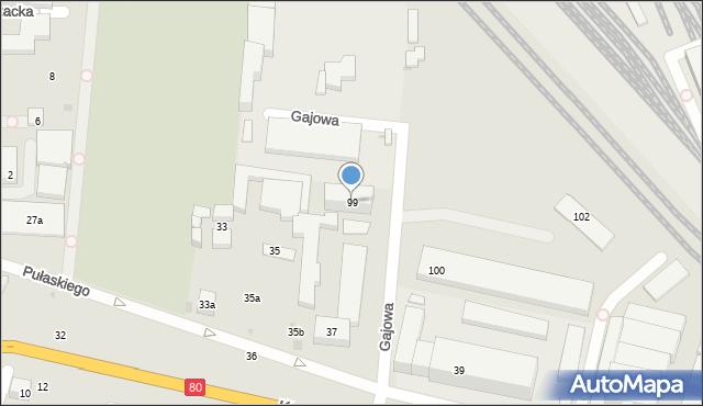 Bydgoszcz, Gajowa, 99, mapa Bydgoszczy