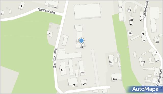 Ostróda, Garnizonowa, 14, mapa Ostróda