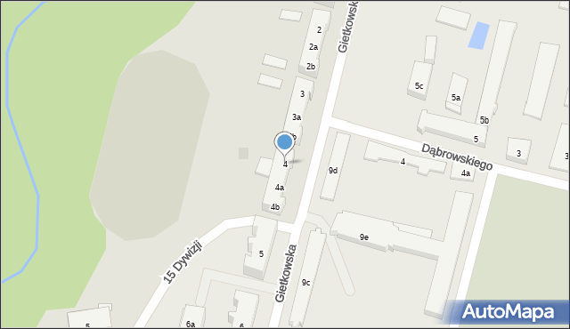 Olsztyn, Gietkowska, 4, mapa Olsztyna