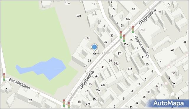 Poznań, Głogowska, 36, mapa Poznania