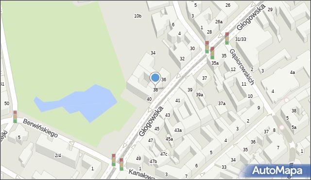 Poznań, Głogowska, 38, mapa Poznania