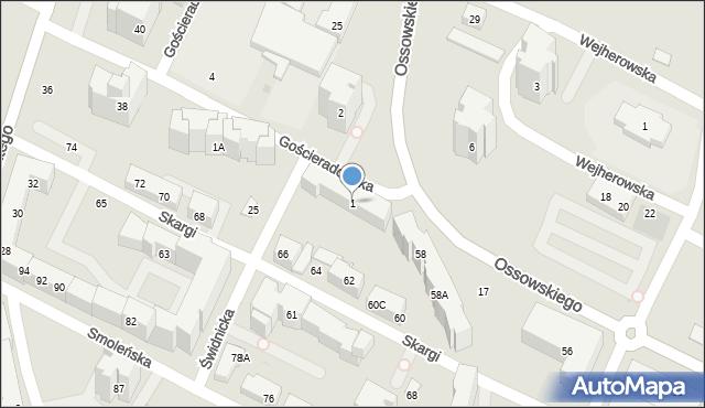 Warszawa, Gościeradowska, 1, mapa Warszawy
