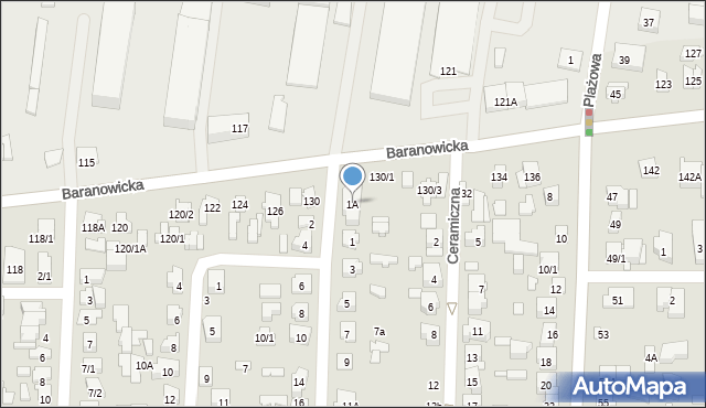 Białystok, Gródecka, 1A, mapa Białegostoku