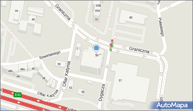 Katowice, Graniczna, 54, mapa Katowic