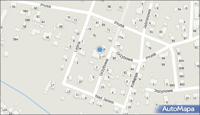 Katowice, Grzybowa, 1, mapa Katowic