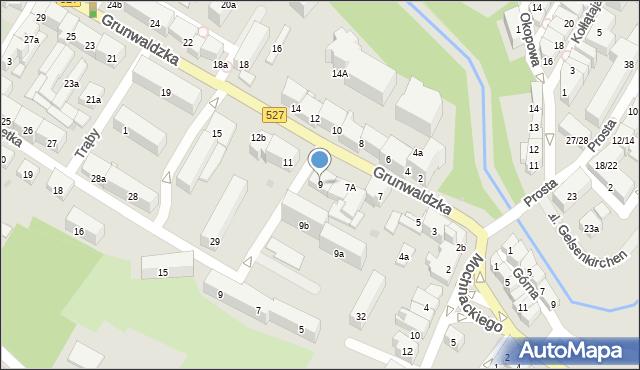 Olsztyn, Grunwaldzka, 9, mapa Olsztyna