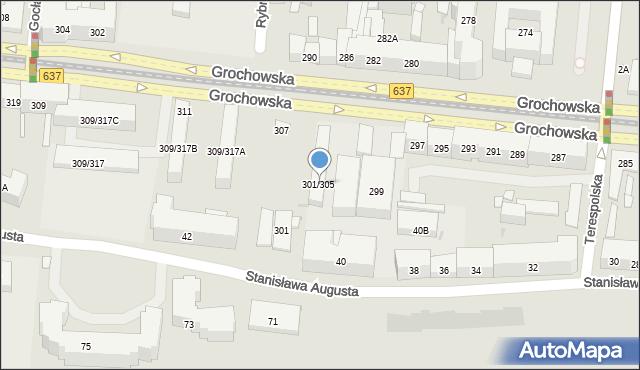 Warszawa, Grochowska, 301/305, mapa Warszawy