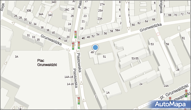Wrocław, Grunwaldzka, 49-51, mapa Wrocławia