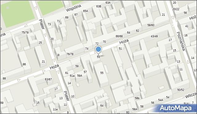 Warszawa, Hoża, 53, mapa Warszawy