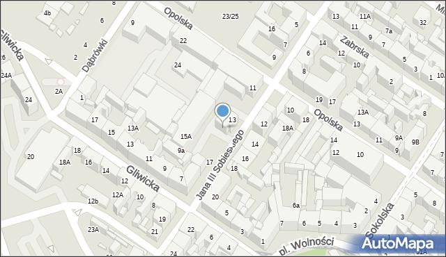 Katowice, Jana III Sobieskiego, 15, mapa Katowic