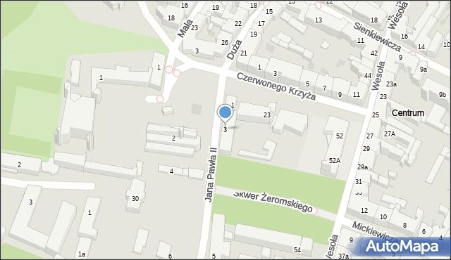 Kielce, Jana Pawła II, 3, mapa Kielc