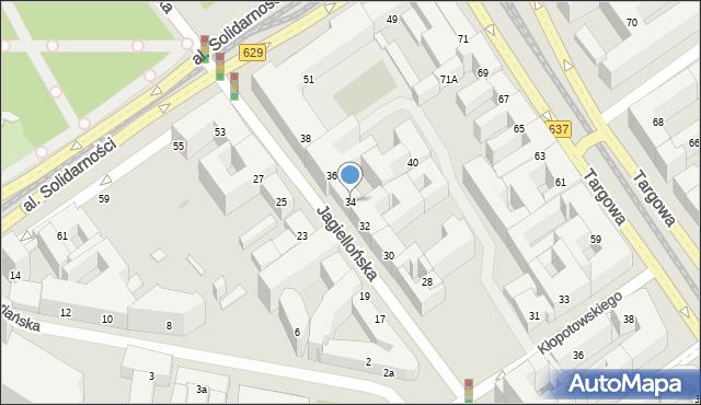 Warszawa, Jagiellońska, 34, mapa Warszawy
