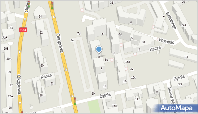 Warszawa, Kacza, 8, mapa Warszawy