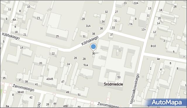 Radom, Kilińskiego Jana, 30, mapa Radomia