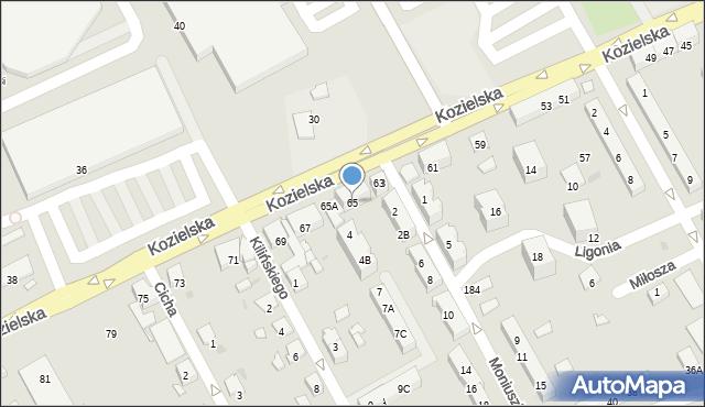 Kędzierzyn-Koźle, Kozielska, 65, mapa Kędzierzyna-Koźle