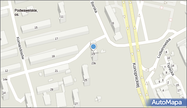 Kraków, Komandosów, 23, mapa Krakowa