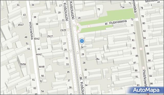 Łódź, Kościuszki Tadeusza, al., 24, mapa Łodzi