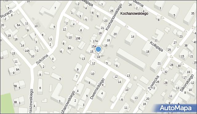 Nowy Sącz, Kochanowskiego Jana, 14, mapa Nowego Sącza