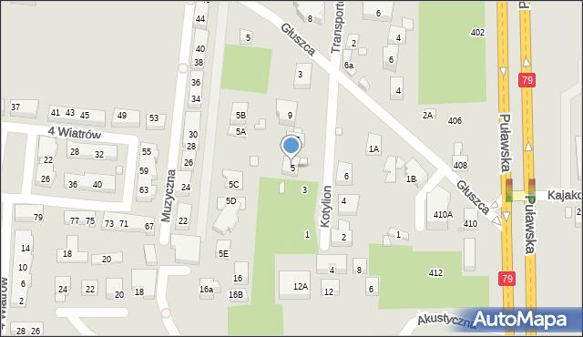 Warszawa, Kotylion, 5, mapa Warszawy
