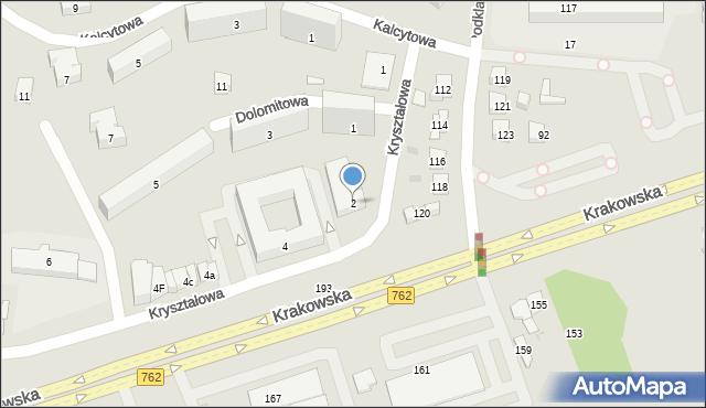 Kielce, Kryształowa, 2, mapa Kielc